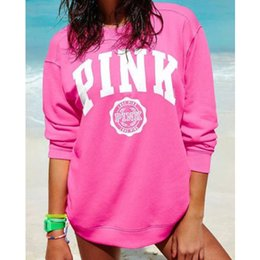 Wholesale Polartec Power Dry - 2017 Fashion Designed PINK printing long-sleeved women's sweater Casual Hoodies American styles Outdoor Mujer sweatshirts clothi