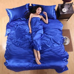 Wholesale Chinese Silk Quilts - Wholesale-Freeshipping Set Bed Linen Chinese Silk Quilt Silk Fitted Set Solid Eggplant Silk Duvet Covers Bedsheet 4pcs of Bedding Set