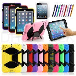 Wholesale Ipad3 Pen - Wholesale-11 colors RUGGED DUTY CASE WITH STAND FOR APPLE for iPad 2 ipad3 ipad4 +PEN+Film