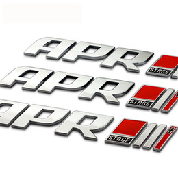 Wholesale Stickers Gti - Car Chrome Metal Badge Emblem APR Stage II+ Genuine part GTI Golf mk6 mk7   Badge For Audi VW VOLKSWAGEN b5 b6 RS4 RS6 Stickers