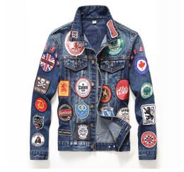 Wholesale Gold Denim Jacket - 2017 autumn men denim jackets denim jacketlapels men worn slim White leaves badge red cross