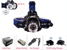 Wholesale Lamp Led Max - A6 Head Switch Button Max 2000 Lumen XM-L XML T6 LED Headlamp Zoomable Headlight Head Light Lamp +2x 18650 4000mAh Battery + AC Charger