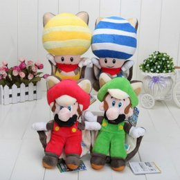 "Wholesale Mario Squirrel Plush - 2016 Hot Sales Brand Free Shipping 4pcs New Super Mario Plush 9"" Musasabi Flying Squirrel red Mario&green Luigi Blue & Yellow Toad   Kinop"