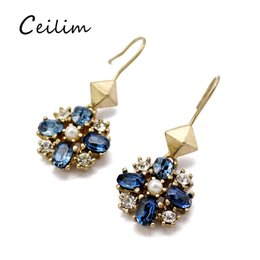 Wholesale crystal chandelier blue light - Retro rhinestone & crystal flower dangle earrings for women fit holiday party jewelry simple light blue rhinestone stud earring wholesale