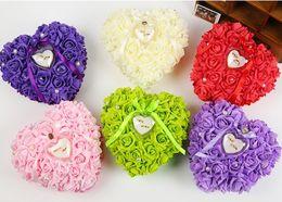Wholesale Beaded Favors - Heart Rose Crystals Rhinestone Pearl Bridal Ring Pillow Satin Lace Wedding Ceremony Satin Ring Bearer Pillow Beaded Wedding Favors Box