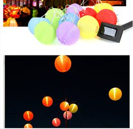 "Wholesale Mini Solar Powered Led Light - 5M 3"" LED Solar Lamps Solar Powered Chinese Lanterns 10pcs Mini Colorful Lantern String Lights Outdoor Garden Christmas Decoration Lamp"