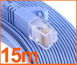 Wholesale 15m Ethernet - Network cable RJ45 Cat6 Flat Ethernet Patch Network Lan Cable 15m Cat6 Snagless Ethernet Patch Cable in Blue 50 Feet