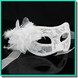 Wholesale translucent masks - Promotional selling handmade Venice golden cloth yarn feather ball translucent mask with lily flower and black,white,and red for choose