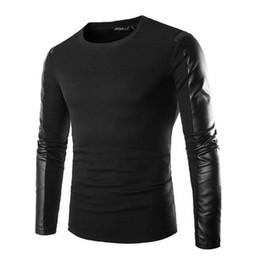 Nouveau 2014 Mens mode col rond en cuir PU Splice manches longues Slim Kintted Top Tee Casual T-shirt Noir Taille L XL XXL FG1511 ? partir de fabricateur