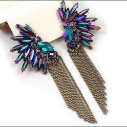 Wholesale Wholesale Crystal Chandelier Chain - Korea Angel Wing Feather Purple Crystal Earrings Fashion 2016 For Women chain tassel earrings Girls Christmas gift