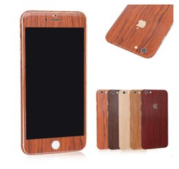 Wholesale Wood Skin Iphone Case - 2016 Vintage Imitate wood grain design Full Body Film sticke Protector For iphone7 7plus 6 6S plus 5S 5C Skin Sticker Case Front +Back decal