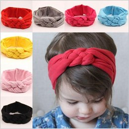 Wholesale Baby Hair Bands Braided - 2015 baby girls braided knot twisted turban headband elastic for hair head bands wraps headbands accessories scrunchy turbante JIA133
