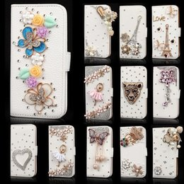 Wholesale iphone cases rhinestones handmade - Handmade Crystal Bling Diamond Flip Wallet Leather Case Card Slots For iPhone 4 5 6 7 8 Plus X Samsung Galaxy S9 plus S7 Edge S8 Note Note8