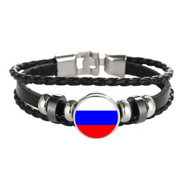 Wholesale Patriotic Charms - Leather Bracelet Snap Punk Russia Belarus Bulgaria Bolivia Flag Glass Cabochon Charm Bracelets Women and Men Jewelry Wholesale
