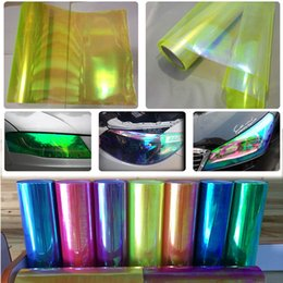 Wholesale Tail Lights Tint - 0.3x10m(1x33ft) Neo Car Chameleon Wrap Headlight yellow Color Taillight Light Fog Lamp Vinyl Tint Film