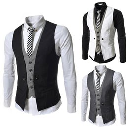 Wholesale Mens Fashion V Necks - 2015 new Fashion slim men's clothes V-neck Splice men's vest casual mens vest fack 2pcs vest 6 colour 3550 black