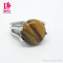 Wholesale Tiger Rings Women - Mix Style 30pcs Lot Natural Stone Rings For Women 2015 New Assorted Natural Tiger Eye Gemstone Platinum Rings Jewelry