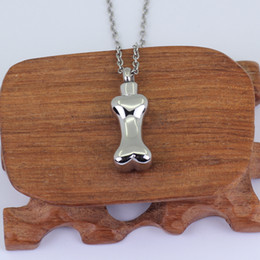 Wholesale pet cremation jewelry - Stainless Steel Bone Shape Pet Doggie Cremation Jewelry Urn Pendant P936