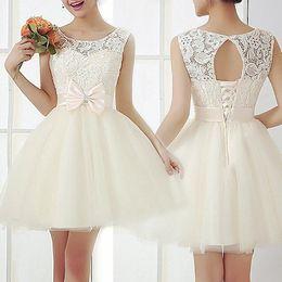 Wholesale Bodycon Dress 12 - Vintage Ball Gown Bridesmaid Dresses 2017 White Ivory Scoop Neck Keyhole Corset Back Lace Bodycon Cocktail Evening Party Short Mini Dress