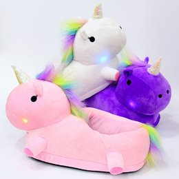 Wholesale Cute Warm Ups - LED Light Up Glow Unicorn Slippers Women Warm Cute Soft Plush Slippers Fancy Household Winter Slipper DHL