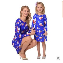 Wholesale Girls Xmas Dress - Girls Dresses Christmas Long Sleeve Mom Baby Family Matching Clothes Snowflake Tree Mom and Daughter Clothing Xmas Dress DHL Free Shipping