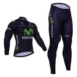 Wholesale Movistar Long Sleeve - Wholesale-WINTER FLEECE THERMAL 2015 MOVISTAR PRO TEAM BLUE Long Sleeve Cycling Jersey Bike Bicycle Wear+ Pants Size XS-4XL GEL Pad