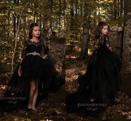 Wholesale Top Pageant Gowns - Black Princess A Line Tulle Girls Pageant Dresses 2018 Half Long Sleeves Lace Top with Crystals Belt Formal Kids Wear Cheap