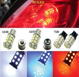 2019 ampoule de frein arrière rouge Rouge vif 27SMD 5050 LED 1157 / BAY15D / T-25 Lampe de clignotant de feu arrière de clignotant arrière 7528 3496 ampoule de frein arrière rouge pas cher