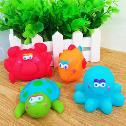 Wholesale Baby Tortoise - Magic Color Rubber Animals Baby Bath Water Toys Cute Sounds Tortoise Crab Fish Squid Kids Swiming Beach Toys Sand Play Water Fun Party