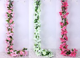 Wholesale Large Flowers For Wedding - Lily Rose Full Flower vine artificial rattan flower arch flower Large lily Artificial Garland For Wedding Decorations FZH088