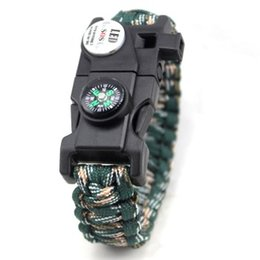 Wholesale Camping Whistles Compass - Survival Bracelet SOS LED Flashlight Whistle Compass Firestart Paracord Adjustable Buckle Climbing Camping Rope Cord Outdoor Gear