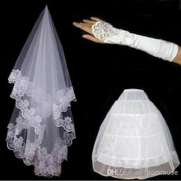 Wholesale Lace Petticoats - Hot Sale Free Shipping In Stock Bridal Veils Gloves Petticoat Set 3 Hoops Tulle Two Layers Lace Edge Handmade Bride Wedding Accessories