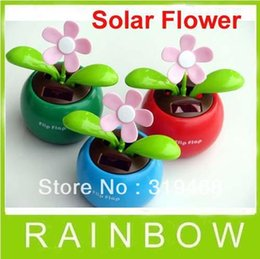 Wholesale China Solar Toys - Wholesale-5pcs lot With Retail Package Flip Swing Flap Solar Sun Powered Flower Car Toy Gift Free China Post Shipping