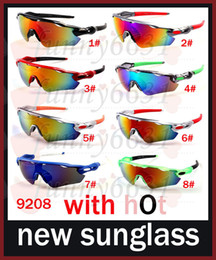 Wholesale Coloured Fashion Glasses - BRAND New Bicycle Glass MEN sunglasses sports to peak cycling sunglasses Sports spectacl fashion dazzle colour mirrors free shipping 9208