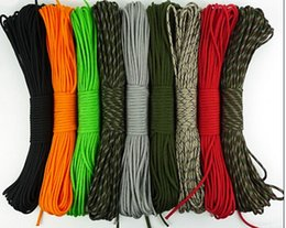 Wholesale Pc Types - 100FT pc 30m 550 paracord Parachute Cord Lanyard Rope Mil Spec Type III 7 Strand core 50 colors for option