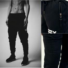 Wholesale Dance Pants Man - Wholesale-High Street fashion zipper mens joggers pants biker cool sweatpants women and men pants hip hop mens tights street dance pants