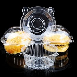 Wholesale cup holders for tables - Hot Sale Oxytropis Clear Plastic Cupcake Puff Box For Wedding Xmas Birthday Table Decoration Party Favor Holder 100pcs Free Shipping