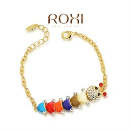Wholesale Worm Jewelry - 015 ROXI Best Gift For Girlfriend Genuine Austrian Crystals Sales 18K Gold Plated Cute Worm Bangle Bracelet Jewelry Party