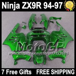 Wholesale Zx9r 1994 Customized - ALL Green 7gifts+Body For KAWASAKI NINJA ZX-9R ZX9R 94-97 G15126 ZX 9R 9 R 94 95 Glossy green 96 97 Customize 1994 1995 1996 1997 Fairing