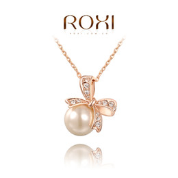 Wholesale Royal Necklaces Jewelry - FG ROXI Brand Pearl Jewelry Big Pearl Pendant Necklace Bowknot Necklace Gold Silver Chain Royal Necklace Women Fashion,2030002315