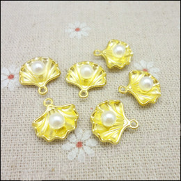 Wholesale Gold Seashell Charms - Wholesale 70PCS gold-colored Seashells Charms Pendant Fit Bracelets Necklace DIY Metal Jewelry Making