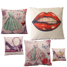 Wholesale Sexy Shoes For Ladies - Sexy Lady Cushion Queen Red Lip Green Dress Red Shoes to Pink Girl Printed Linen Pillow For Sofa Furniture & Home Decorative