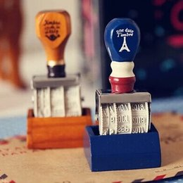 Wholesale Wholesale Date Stamps - Vintage Wooden Words and Date Stamp DIY Rolling Wheel Rubber Scrapbooking Craft Stamp Korean Stationery SK785