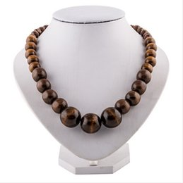 Wholesale Chunky Chain Bead Necklace - Wholesale-EVBEA Environmental Wood Necklace Chunky Brown Round Bead Chain Necklaces Wooden Men Necklace Rock Hip Pop Jewelry For Women