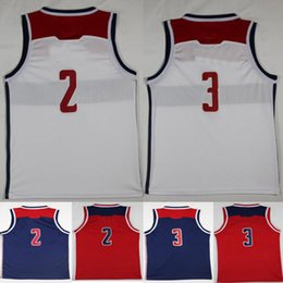 Wholesale Mens Style Cheap - 2018 Season New Style #2 John Wall Jersey All Stitched White Red Blue Cheap Mens #3 Bradley Beal Jerseys Shirt College Wholesale