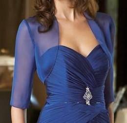 Wholesale Dress Chiffon Crochet - Royal Blue Chiffon 3 4 Sleeves Evening Jackets Boleros Bridal Jacket Plus Size Cheap Simple Bridal Coats For Mother of the Bride Dresses