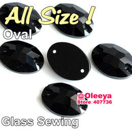 Wholesale Glass Beads For Sewing - All Size Sew On Rhinestones Oval Black Jet Glass Crystal Beads Sew-on Stone For Garment Y1443