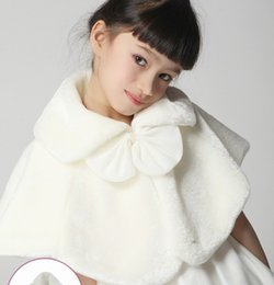 Wholesale Kids Fur Poncho - Hot Winter Children Clothing Pearl Butterfly Fur Cloak Childs Outwear Girls Wedding Party Wear Kids Princess Poncho Clothes Beige Pink M1749