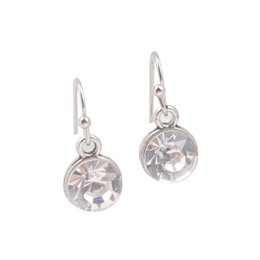 Wholesale April 12 - New Arrive 12 Pairs Of Fashion alloy metal dangler Earring Silver Tone April July Birthstone Drop Earrings