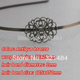 Wholesale Brass Headband - Antique brass bronze metal hairband hair band headband findings accessories with 35x25mm filigree pad cabochon setting blank